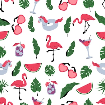 Seamless pattern with flamingos palm leaves and watermelon a pattern with exotic birds leaf