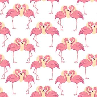 フラミンゴとのシームレスなパターン