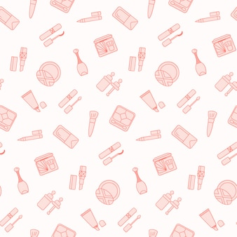 Seamless pattern with flat cosmetics icon.