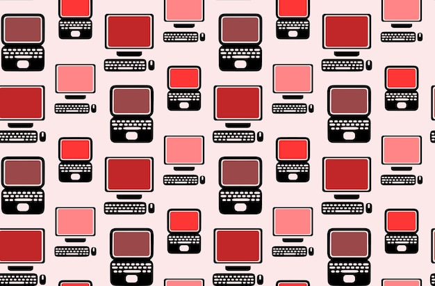 Seamless pattern with flat laptops and computers for your creati