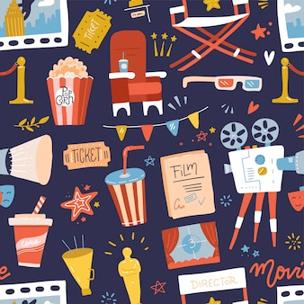 Seamless pattern with flat movie icons on dark blue background. reel, camera, ticket, clapperboard and fast food. cartoon hand drawn illustration.