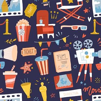 Бесшовный фон с плоскими иконками кино на синем фоне. катушка, камера, билет, с 'хлопушкой' и фаст-фуд. мультяшный рисованной иллюстрации.