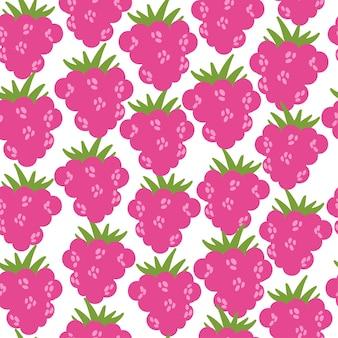 흰색 배경에 평면 나무 딸기 벡터 평면 나무 딸기 일러스트와 함께 완벽 한 패턴