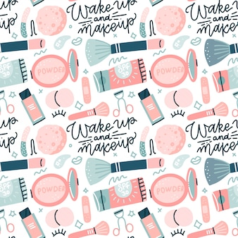 Seamless pattern with flat style colorful makeup icons. hand drawn  illustrations of different cosmetics items on white background wirh hand drawn lettering