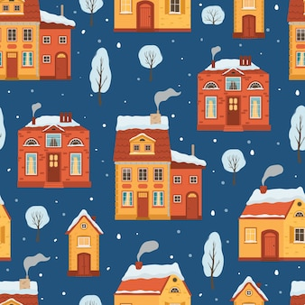 Seamless pattern with flat style winter houses. christmas holiday background with a cozy town