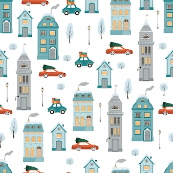 Seamless pattern with flat style winter houses.