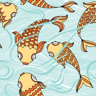 Seamless pattern with floating fishes in the sea