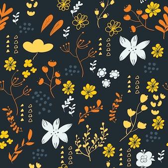 花の要素とシームレスなパターン。ベクトル図。