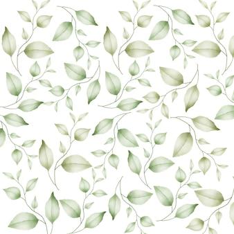 Бесшовные модели с цветочными листьями акварель
