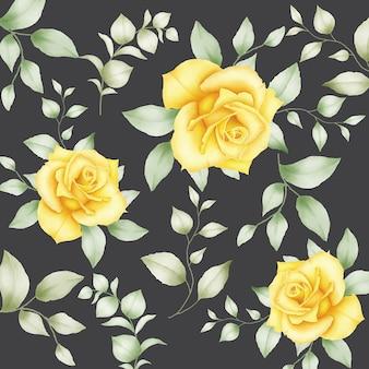花の葉の水彩画とシームレスなパターン