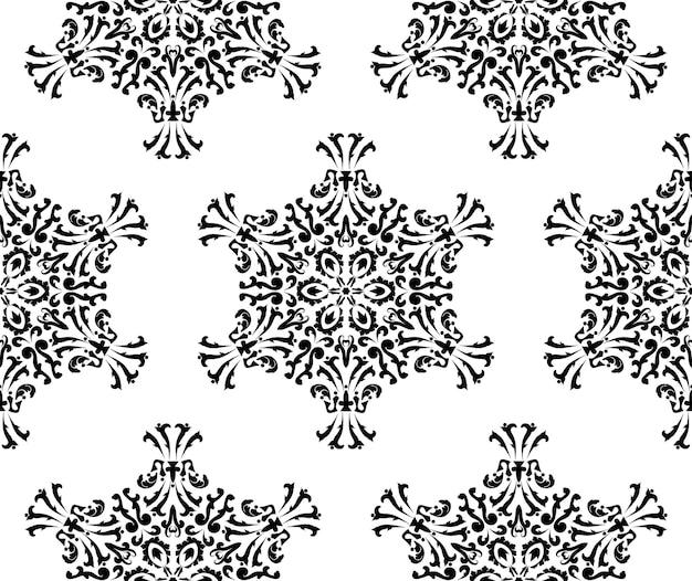 꽃 만다라와 원활한 패턴 동양 패턴 라운드 장식품 흑백