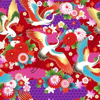 春のドレス生地のデザインのためのアジアンスタイルの花をモチーフにしたシームレスなパターン