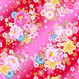 봄 드레스 직물 디자인을 위한 아시아 스타일의 꽃 모티브가 있는 매끄러운 패턴