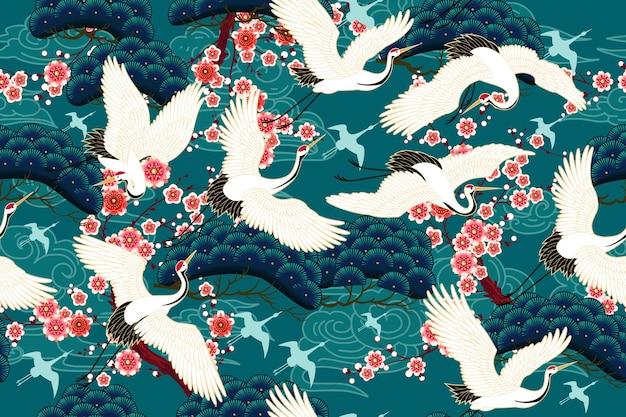 花の動機と鶴とのシームレスなパターン