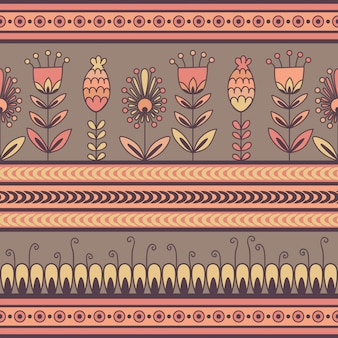 Seamless pattern with floral ornament in the decorative bands