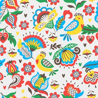Seamless pattern with floral ornament in folk style