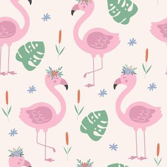 Бесшовный фон с цветочным розовым фламинго мультяшный векторный фон с фламинго