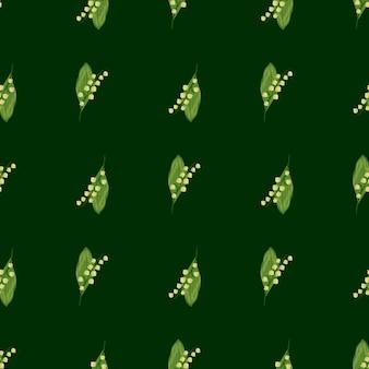 濃い緑の背景に春の花のスズラン要素を持つシームレス パターン