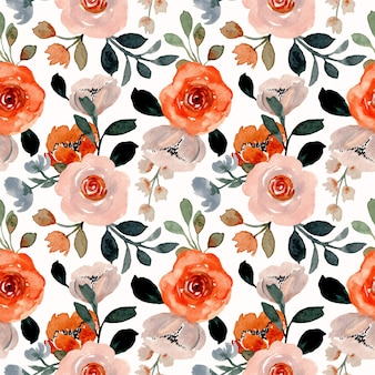 Seamless pattern with floral watercolor