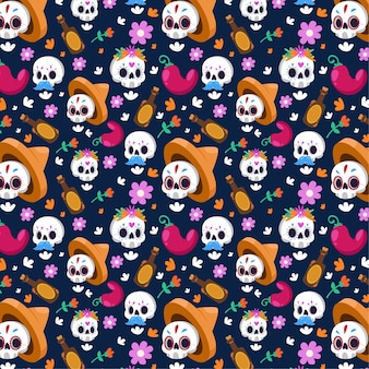 Seamless pattern with floral white skulls
