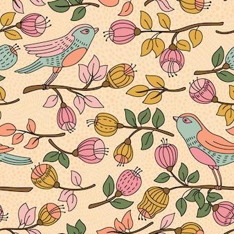 Бесшовный фон с цветами и птицами. его можно использовать для обоев рабочего стола или рамы для настенного ковра или плаката, для узоров, текстур поверхности, фонов веб-страниц, текстиля и многого другого.