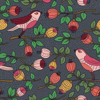 꽃과 새와 함께 완벽 한 패턴입니다. 패턴 채우기, 표면 질감, 웹 페이지 배경, 섬유 등을 위해 바탕 화면 배경 무늬 또는 벽걸이 또는 포스터 프레임에 사용할 수 있습니다.