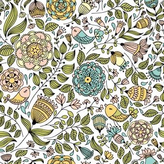 꽃과 새와 함께 완벽 한 패턴