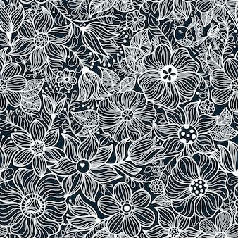 花と鳥とのシームレスなパターン
