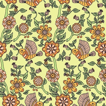 Seamless pattern with flower and birds