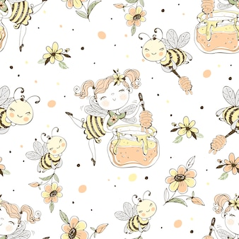 Seamless pattern with flower fairy and honey bees.