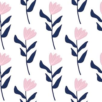 花のシンプルなシルエットとのシームレスなパターン。ピンクのつぼみと紺の茎。シンプルな花柄。