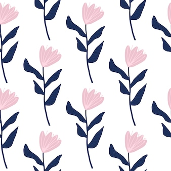 Seamless pattern with flower simple silhouettes. pink buds and navy blue stems. simple floral print.
