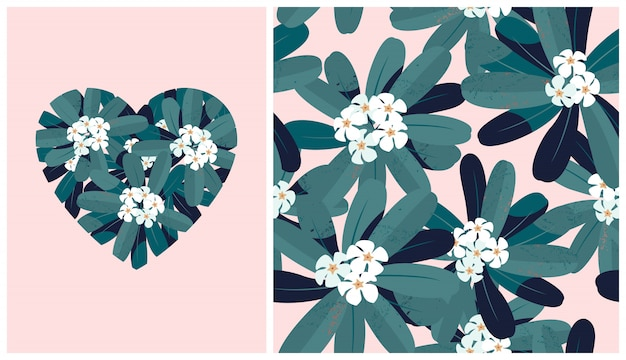 Seamless pattern with flowering frangipanis tree and heart shaped illustration