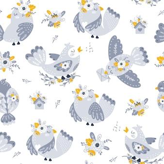 꽃과 새 삽화와 함께 완벽 한 패턴