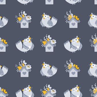 花や鳥とのシームレスなパターンベクトル