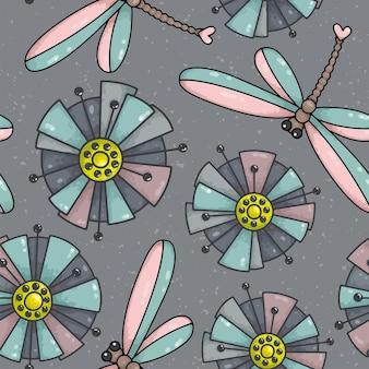花とトンボとのシームレスなパターン