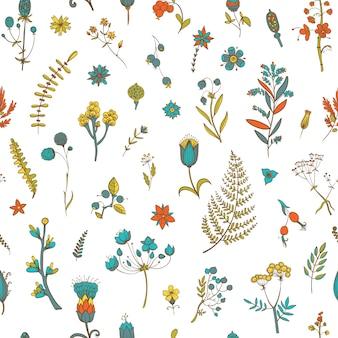 Бесшовный фон с цветами и травами