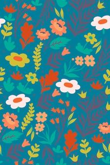 花と葉とのシームレスなパターン。ベクトルグラフィックス。