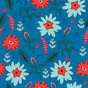 花と葉とのシームレスなパターン