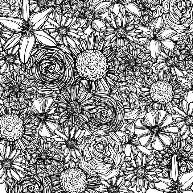 Seamless pattern with flowers background