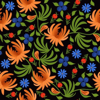 Seamless pattern with flowers and berries on a dark background.