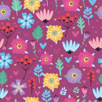 Seamless pattern with flowers and berries lilac background