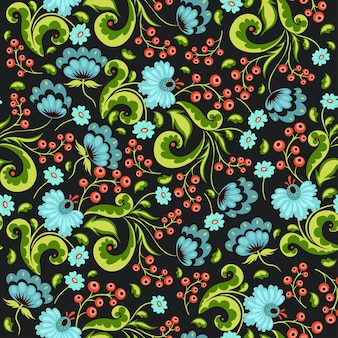 Seamless pattern with flowers and berries in russian style.