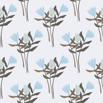 Бесшовный фон с силуэтами букет цветов. светлый фон с голубыми ботаническими тюльпанами и коричневыми ветками. аннотация . ed для обоев, текстиля, оберточной бумаги, ткани для печати.