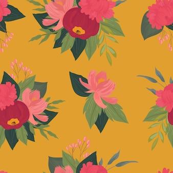 花、枝、葉とのシームレスなパターン。創造的な花のテクスチャ。布、繊維のベクトル図に最適