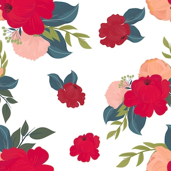 Seamless pattern with flowers, branches, leaves