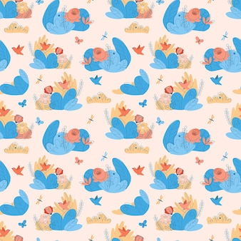 Seamless pattern with flowers and bushes
