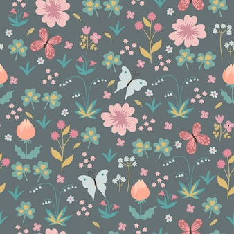 Seamless pattern with flowers and butterflies