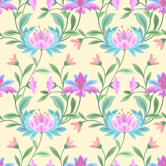 Seamless pattern with flowers design on yellow
