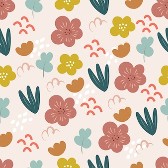 Seamless pattern with flowers in doodle style